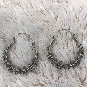 Evereve brushed silver hoop earrings